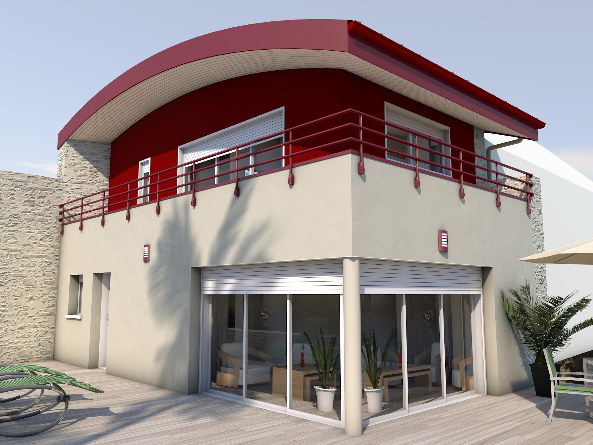 D bord de toit plat for Extension maison 9m2
