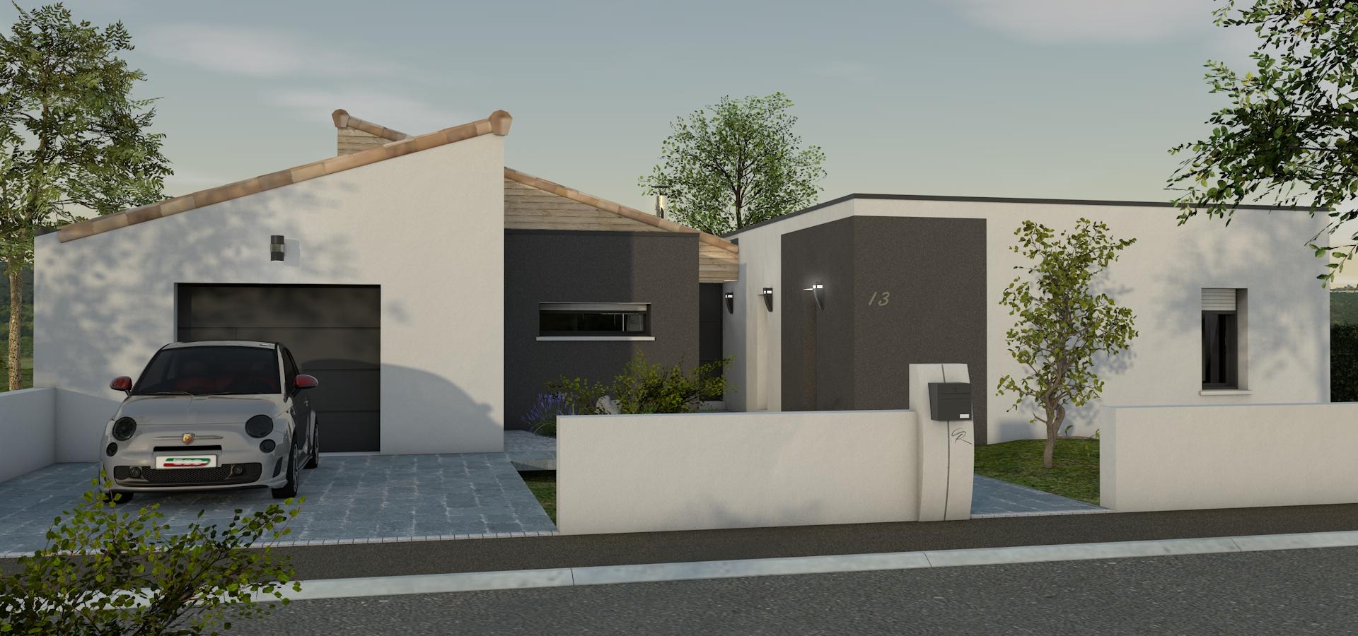 Maison moderne toit plat couvertures tuile monopentes pers2